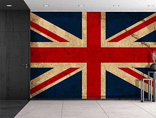 Large Wall Mural Vintage UK Flag Vinyl Wallpaper Removable Decorating