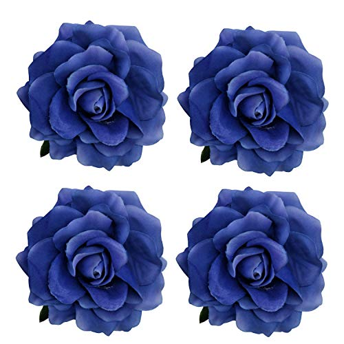 La Homein Sanrich 4pcs/Pack Fabric Rose Hair Flowers Clips Hairpin Brooch (Royal -