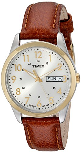 (Timex Men's T2N105 South Street Sport Brown Leather Strap Watch)