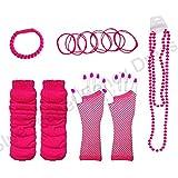 Blue Planet Fancy Dress ® Neon Fishnet Gloves, Legwarmers, Bangles, Beads Necklace & FREE Bracelet (Neon Pink)