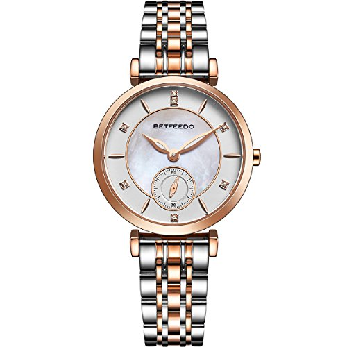 Wrist Watch for Women, Ladies Watch,Rose Gold Watch for Girls,BETFEEDO Waterproof Quartz Dress Watches (Rose Gold/Silver) by Bet Feedo (Image #6)