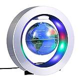 Magnetic Levitation Globe, 4'' Circular Frame O Shape Levitating Globe Colorful LED World Map Anti-Gravity Floating Rotating for Home Decoration Fashion Crafts Holiday Gifts