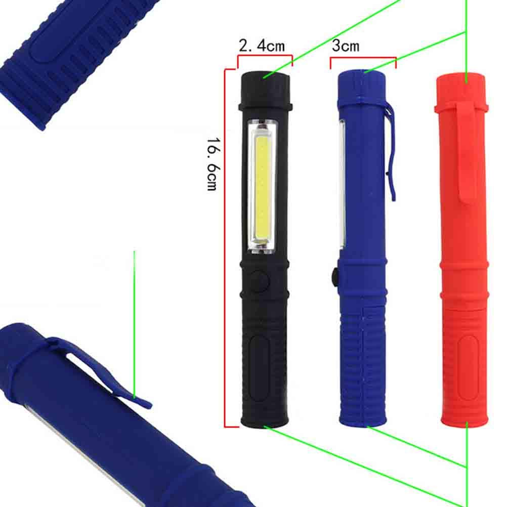 Uonlytech 2PCS Mini multifunzione portatile Lanterna di lavoro torce di ispezione COB LED torcia elettrica Nessuna batteria nero + rosso