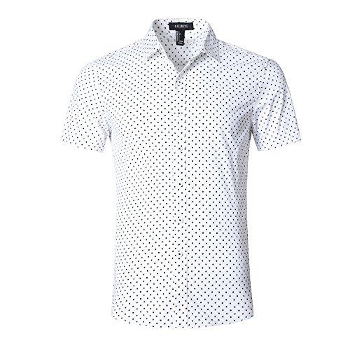 GILBETI Men's Casual Dress Cotton Polka Dots Short Sleeve Shirts(Mini Polka (Cotton Silk Mock Turtleneck)