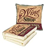 iPrint Quilt Dual-Use Pillow Vintage Vintage Rusty Metal Pop Art Style Sign for Wine Shop Past Time Adds Bohemian Decor Multifunctional Air-Conditioning Quilt Orange Red