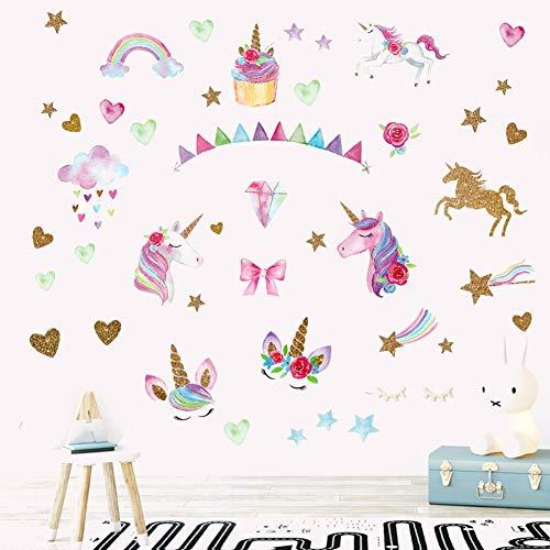 Unicorn Wall Decals Sticker Decor Cute Rainbow Unicorn Heart Flower Star Vinyl Wall Art Stickers for Nursery Kids Baby Girls Bedroom Wall Mural Decor