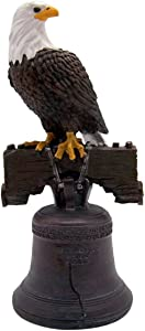 Wowser Classic Bald Eagle Statue on Top of The Liberty Bell, Let Freedom Ring Patriotic Indoor Tabletop Decoration, 9 1/2 Inch
