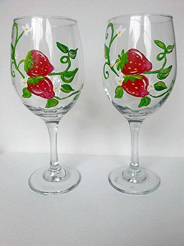 Hand Painted Red Strawberry Stemmed Wine Glasses 20 oz (Set of 2), Fruit Kitchen Decor