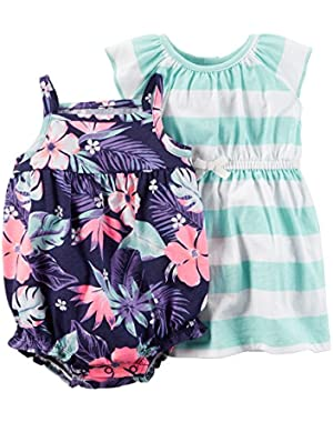 Baby Girls 2-Pack Tropical Romper and Strip Dress Set