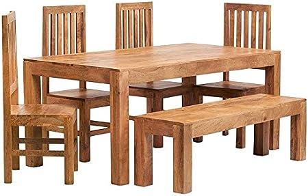 Indiwood Cuba Mango luz 6 pies (180 cm) Gran Juego de Mesa de Comedor con Banco y 4 sillas de Madera: Amazon.es: Hogar