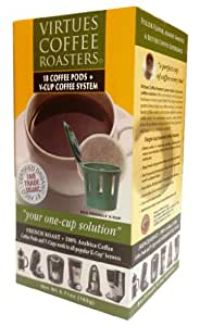 18ct. Organic F/T French Roast Coffee Pods, plus 1 V-cup Coffee Pod Adapter for Keurig® K-cup Brewers