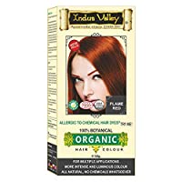 Indus Valley 100% Botanical 100% Organic Flame Red Natural Hair Dye for Sensitive...
