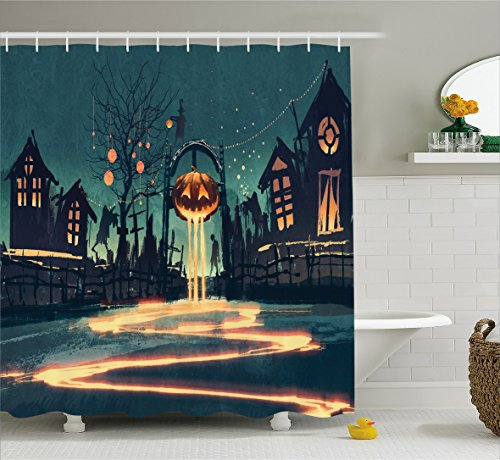 Ambesonne Fantasy Art House Decor Shower Curtain by, Halloween Theme Night Pumpkin and Haunted House Ghost Town Artful, Fabric Bathroom Decor Set with Hooks, 84 Inches Extra Long, Teal Orange for $<!--$39.99-->