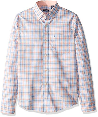 IZOD Men's Slim Fit Button Down Long Sleeve Stretch Performance Plaid Shirt, Prairie Sunset, Large Slim ()