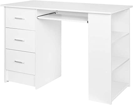 Homfa Computer Desk Home Office Workstation Pc Laptop Table Study Desk With 3 Drawers And 3 Shelves Keyboard Shelf White 109x49x75cm Amazon Co Uk Kitchen Home