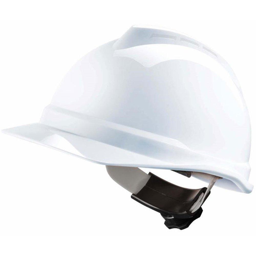 MSA V-Gard Construction Worker Helmet with Ventilation and Slide Control PushKey – Work Helmet Protective Helmet Hard Hat, Colour: White MSA Safety GV412