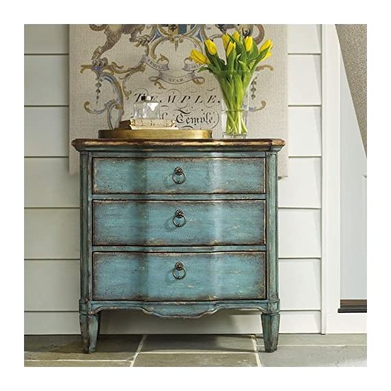 Hooker Furniture Three Drawer Turquoise Chest, Blue - Three Drawers Turquoise With Gold Leaf Finish Ring Pull Hardware - dressers-bedroom-furniture, bedroom-furniture, bedroom - 51 FHJ15LfL. SS570  -