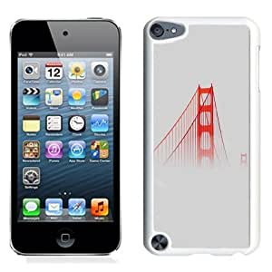 Fashionable Custom Designed iPod Touch 5 Phone Case With Red Bridge In Clouds_White Phone Case