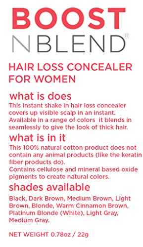 BOOSTnBLEND Black Hair Loss Scalp Concealer for women with thinning hair. Use as fill in powder, hair filler, BEST female hair thickening fibers. Get your confidence back! 22g/0.78oz by BOOSTnBLEND (Image #2)