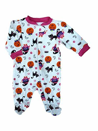 Infant Baby Girls White Halloween Cat Pumpkin Sleeper Sleep & Play Pajamas 3-6m ()