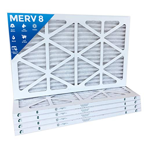 16x24x1 Merv 8 Pleated AC Furnace Air Filters. Box of 6 by Filters Delivered