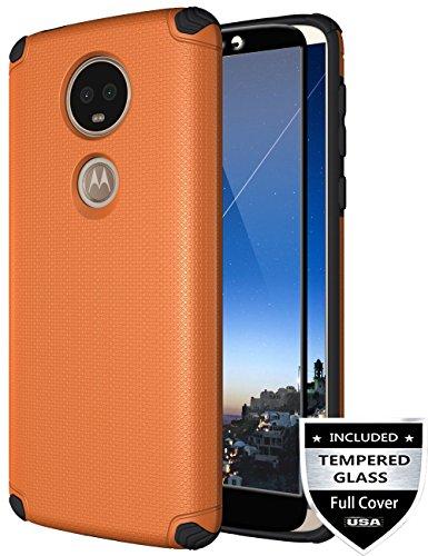 Moto E5 Plus Case, Moto E5 Supra Case with [Tempered Glass Screen Protector] Nuomaofly Shockproof Texture Magnetic Hard Back Cover Thin Armor Protective Case for Motorola Moto E5 Plus (Orange)