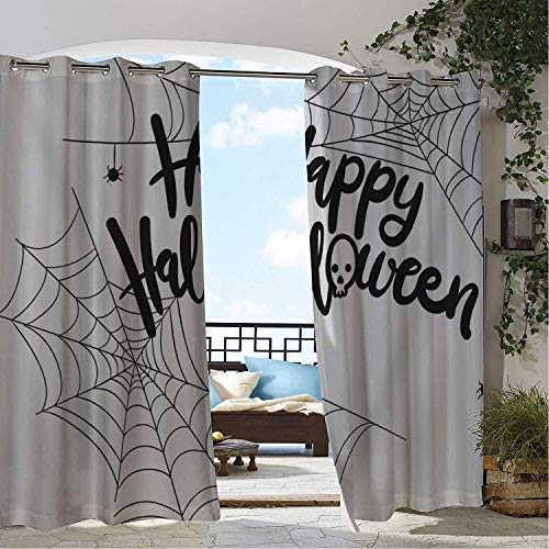 Linhomedecor Patio Waterproof Curtain Happy Halloween Spider Web Porch Grommets Backdrop Curtains 96 by 96 inch -