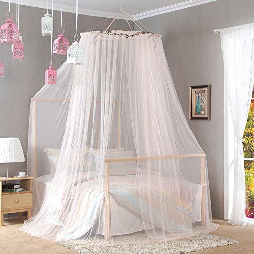 DE&QW European dome double ceiling mosquito net, Home Floor standing Princess bed canopy -D Queen2 by DE&QW