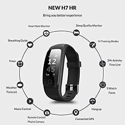 Coffea Fitness Tracker, H7-HR Activity Tracker : Heart Rate Monitor Wireless Bluetooth Smart Wristband Bracelet, Waterproof Fitness Watch with Replacement Band for Android & IOS