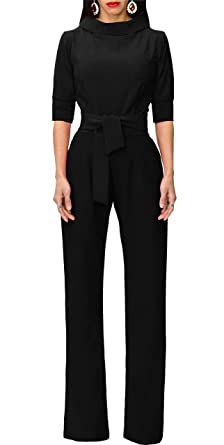 9243e438d66d Amazon.com  Chicmay Womens Wide Leg Jumpsuits High Waist Solid Color  Elegant Long Pants Romper with Belt  Clothing