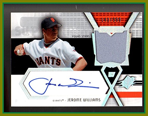 - 2004 SPx Swatch Supremacy Signatures Young Stars #JW Jerome Williams AUTOGRAPH and JERSEY SAN FRANCISCO GIANTS serial #143/199