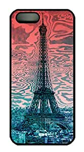 Protective PC Case Skin for iphone 5 Black PC Case Back Cover Shell for iphone 5S with Modern-art Eiffel Tower