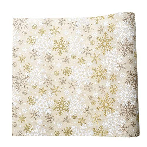 Iusun Christmas Table Runner 0.3x2.7M Snowflake Tree Rectangular Flag Tablecloth Dinning Placemat Supplies Decorations for Family Gathering Wedding Party Holidays (B) (Best Places To Look For Gold)