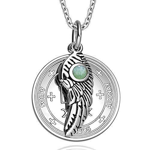 Archangel Raphael Sigil Amulet Magic Powers Angel Wing Charm Green Quartz Pendant 22 Inch Necklace by BestAmulets