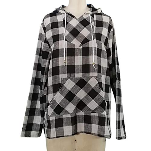Womens Hoodie Plaid Shirt Blouse Fashion Long Sweatshirt Black T Top Sleeve Pullover Autumn VJGOAL 1Y0xHdd