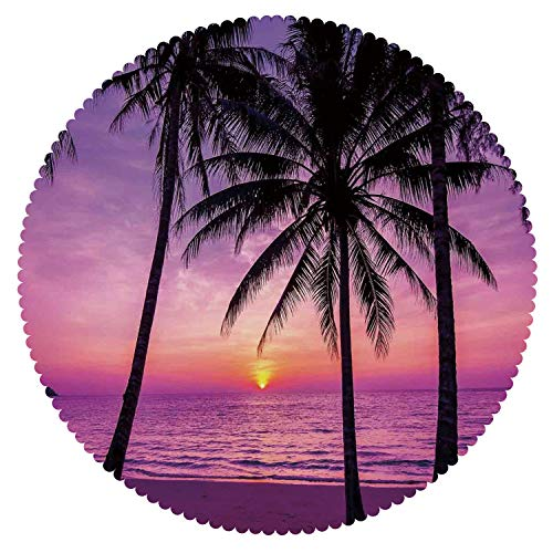 iPrint Round Tablecloth [ Ocean Decor,Palm Trees Silhouette at Sunset Dreamy Dusk Warm Twilight ] Fabric Kids Home Tablecloth Designs -