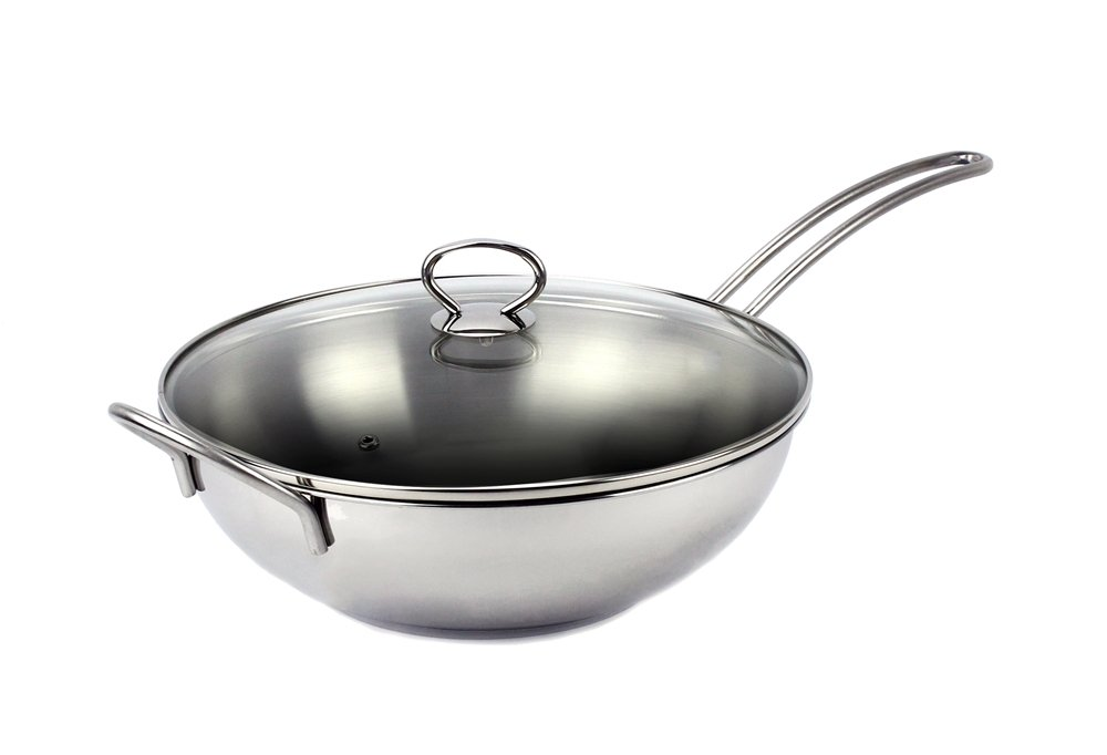 Excelife Jb Cookware Stainless Steel Induction Wok Pan 13'', with Tempered Glass Lid, Silver