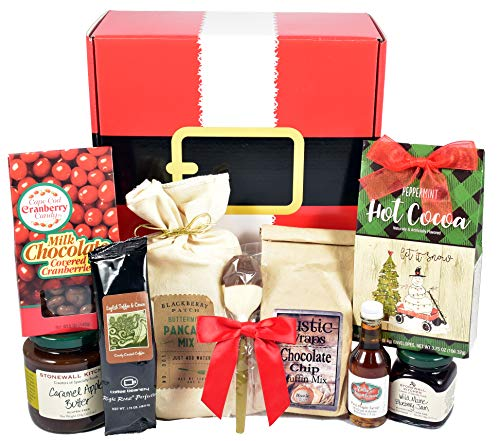 Gift Basket Village North Pole Nibbles, Breakfast Gift Box with Buttermilk Pancakes, Muffins, Gourmet Jam, Maple Syrup and More...