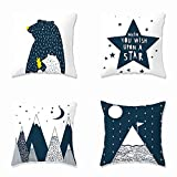 Heyhousenny Decorative Throw Pillow Covers,4 Packs Square Throw Pillow for Chair, Deco Indoor,18 x 18 inches(Cartoon Beer,Star,Mountain)