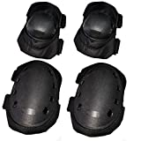 Kiwivalley 4 in 1 Military Tactical Knee and Elbow Pads Set, Cheap and Practical, Skate & Skateboarding Protection Knee Pads, Cycling Safety Gear Equipment - (Black)