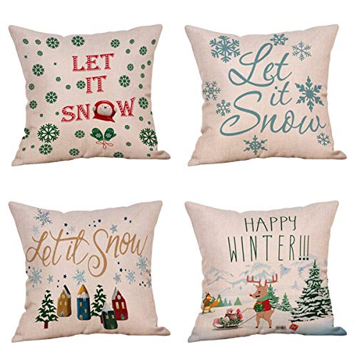 (Steven.Smith 4 Pack Christmas Pillowcases,Let It Snow Beautiful Snowflakes in Red,Snowman,Merry Christmas Decorative Throw Pillow Case Cushion Covers Cotton Linen 18 X 18 Inch for Sofa (Let it Snow))