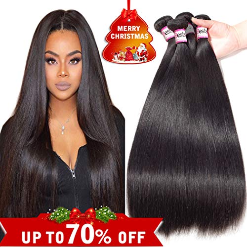 Bestsojoy 8A Brazilian Virgin Hair Straight 4 Bundles Brazilian Human Hair Extensions 100% Unprocessed Human Hair Weave Natural Color (20 22 24 26)