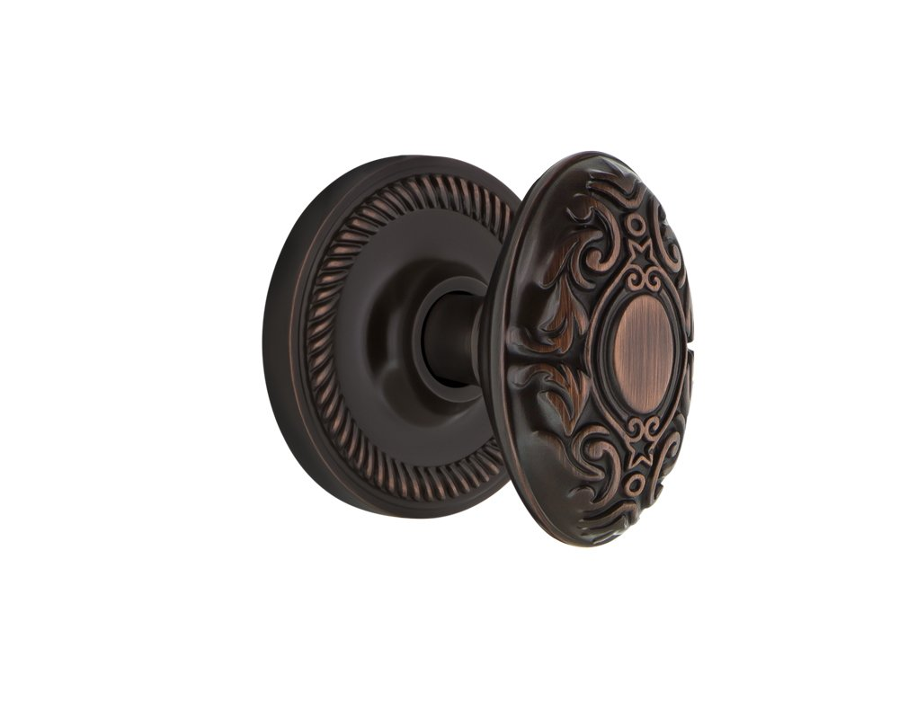 Nostalgic Warehouse Rope Rosette with Victorian Knob, Privacy - 2.375'', Timeless Bronze