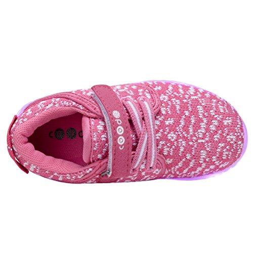 Coodo Kids Jongens Meisjes Led Light Up Shoes Knipperende Sneakers (peuter / Nest Kinderen) 5-fuschia / Wit