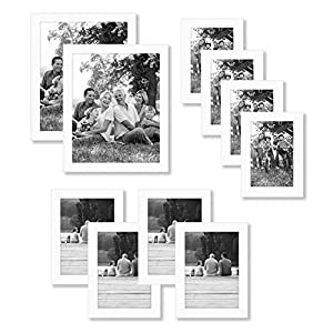 Americanflat 10 Piece White Picture Frame Set in Sizes 8×10, 5×7, and 4×6 – Composite Wood with Shatter Resistant Glass…