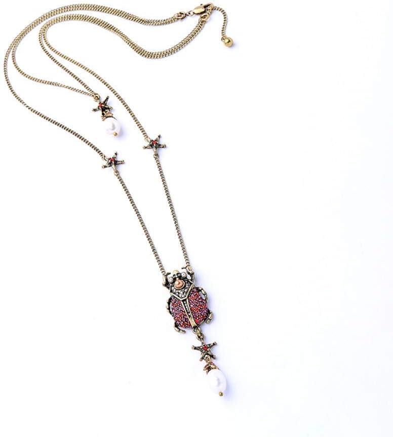 ZJL Simplicidad con Estilo Collar de Mujer Collar de Diamantes de Imitación de Aleación de Oro Antiguo Colgante de Escarabajo de Perla Cultivada Collar de Capa Larga Joyería - Collar