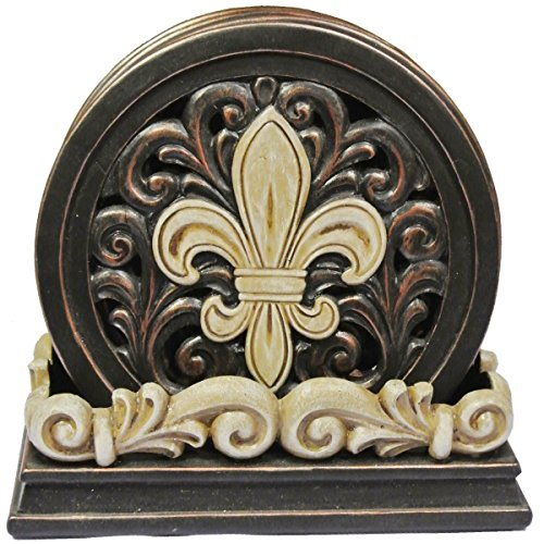 VoojoStore Fleur De Lis Carved Scroll Coaster Set - Perfect Gift For Men Women Couples Grandpa Father Mother Engagement Wedding Anniversary Christmas Birthday Him Her Sister Wife Husband