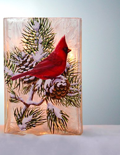 Night Cardinals Light Glass (Stony Creek Lighted Glass Vase (Rectangle 4 x 3 x 5.75, Whispering Pine Cardinal))