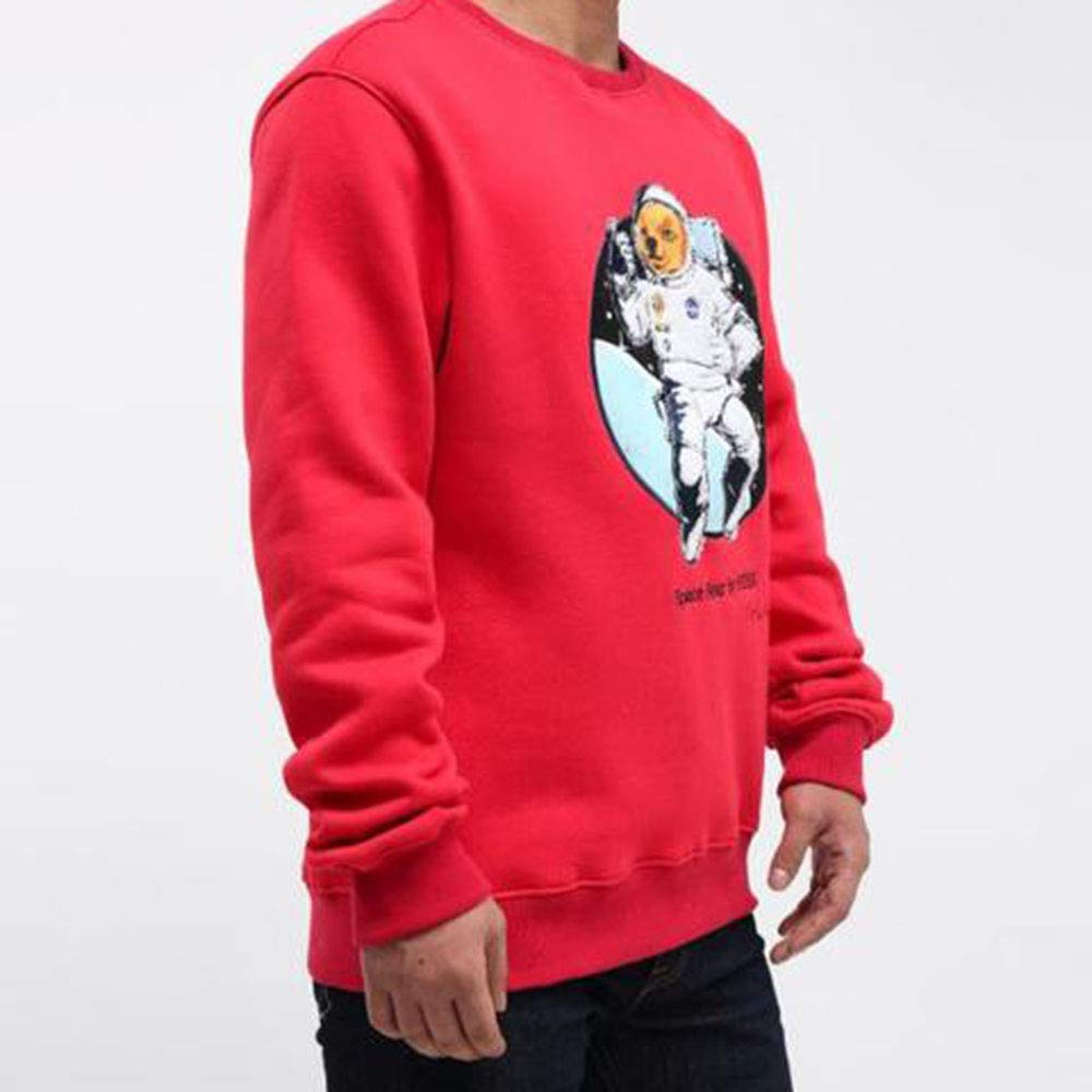 Hudson Outerwear Mens Space Bear Crewneck Sweatshirt Red h5052511-red