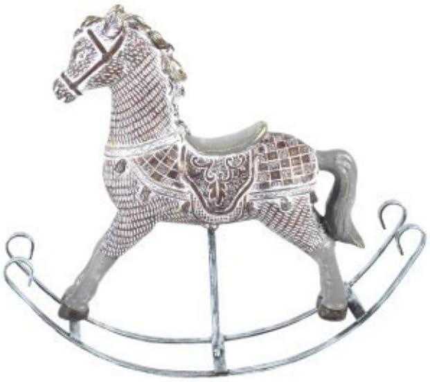 CAPRILO Figura Decorativa de Resina Caballo Balancín Adornos y Esculturas. Animales. Decoración Hogar. Regalos Originales. 17 x 22.5 x 5 cm.